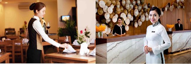Phục vụ bàn nhà hàng hoặc lễ tân là công việc phù hợp với con gái
