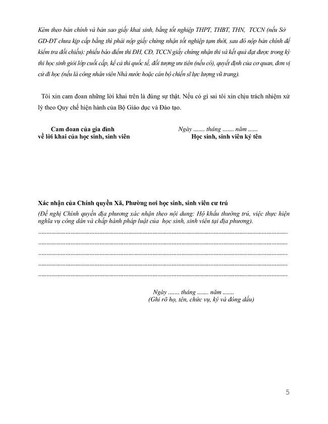 Mẫu hồ sơ sơ yếu lý lịch HSSV trang 5